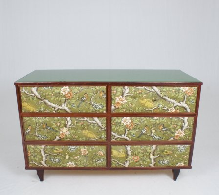 Italian 60's chest of drawers with original floral fabric on drawers