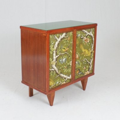 Italian 60's night stand with original floral fabric on doors