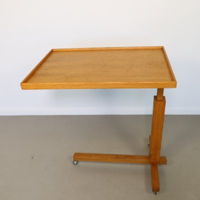 Height adjustable Oak bed table, 1960s