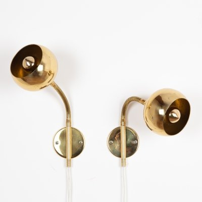 Pair of Swedish wall lamps in brass, 1970s