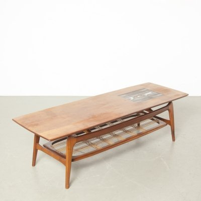 Coffee table teak by Louis van Teeffelen for Webé with tiles by Ravelli