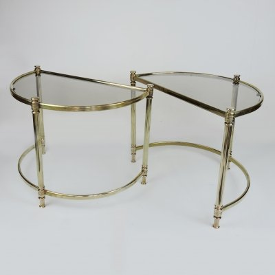 Pair of Hollywood Regency Semi Circle Brass Side Tables, 1970s