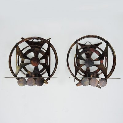 Pair of Brutalist Abstract Iron Candleholders / Sconces by Henrik Horst, 1960s