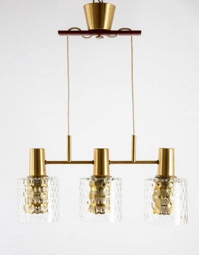 Hans Agne Jakobsson Swedish triple pendant lamp with brass & glass