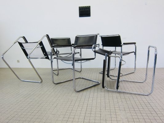 Thonet S34 dark brown leather dining/office chairs by Mart Stam, 1980s