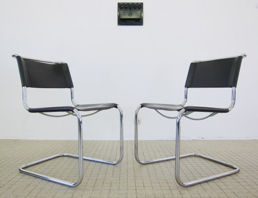 Thonet S33 dark brown leather dining chairs by Mart Stam, 1980s