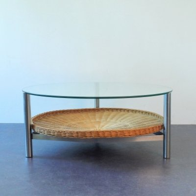 Heavy polished steel frame coffeetable with glass top & rattan magazin basket