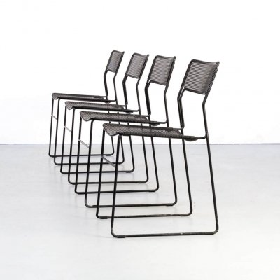 Set of 4 metal stackable dining chairs, 1980s