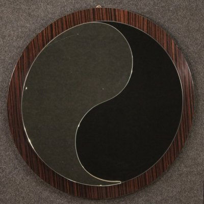 20th Century Palisander Wood Round Italian Design Mirror, 1970