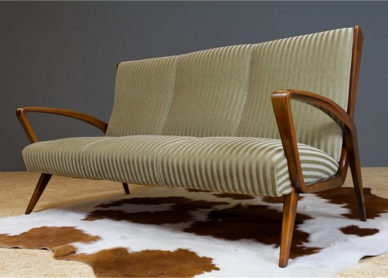 Art Deco classic high back sofa by A.A.Patijn in walnut & velvet