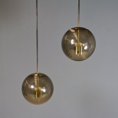 Set of Large Amber smoked Glass Hand Blown & Brass pendant lights by Glashütte Limburg, 1970s