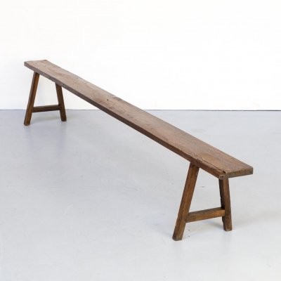 Organic shaped wooden french bench, 1950s