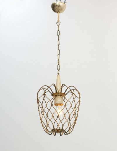 Brass wire-frame hanging lamp, Italy 1950's