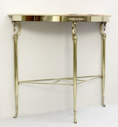 Italian Demi-Lune Pink Marble Console Table, 1950s