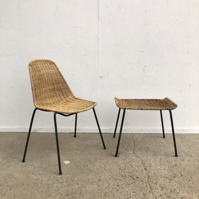 Basket chair with hocker by Gian Franco Legler, 1950s