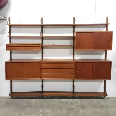 Large Royal system wall unit by Poul Cadovius for Cado, Denmark 1960s