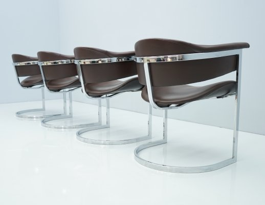 Set of 4 Dining Chairs in Tubular, Chrome & Leather, 1970s