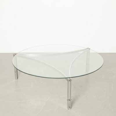 Round coffee table with glass top, 1970s