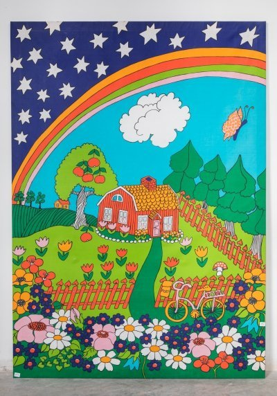 Pop-Art Summerset Litho on Canvas, Sweden 1970s