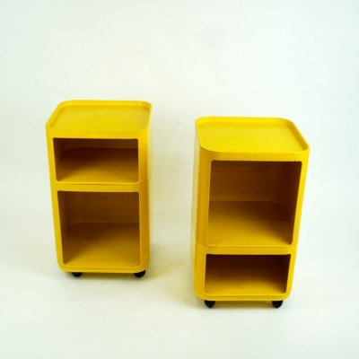 Pair of Yellow Componibili Trolleys by Anna Castelli for Kartell