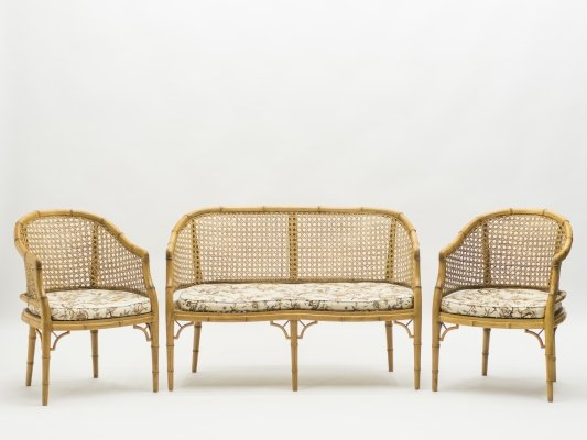 Mid-Century Modern French Riviera Cane Bamboo Sofa & Armchairs, 1960s