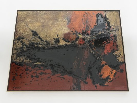 Lacquer panel by French artist Philippe Cheverny, circa 1970