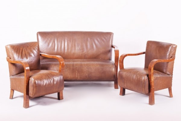 Brown Walnut & Leather Art Deco Three-Piece Suite, 1930s