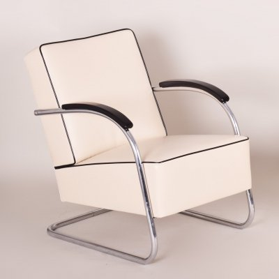 Ivory Leather Tubular Steel Cantilever Chrome Armchair by Mücke Melder, 1930s