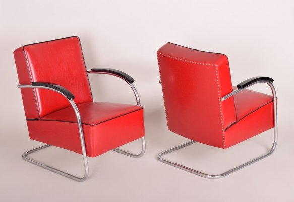 Pair of Red Tubular Steel Cantilever Armchairs by Mücke Melder, 1930s