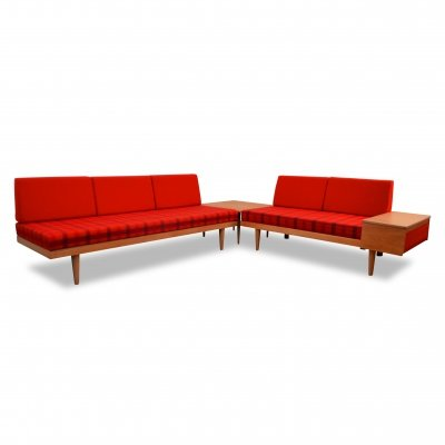 Vintage Oak & Fabric Seating Group by Haldor Vik & Ingmar Relling, Norway 1960s
