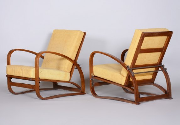 Pair of Oak Art Deco Armchairs by Jindrich Halabala, 1930s