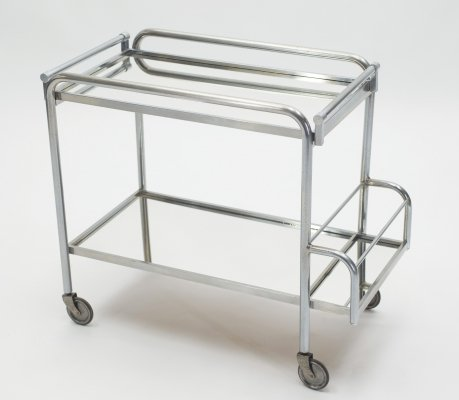 Jacques Adnet art deco mirrored bar cart trolley, 1930s