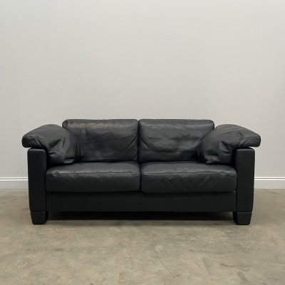 Two Seat Black Leather DS 17 Sofa by De Sede, 1980s