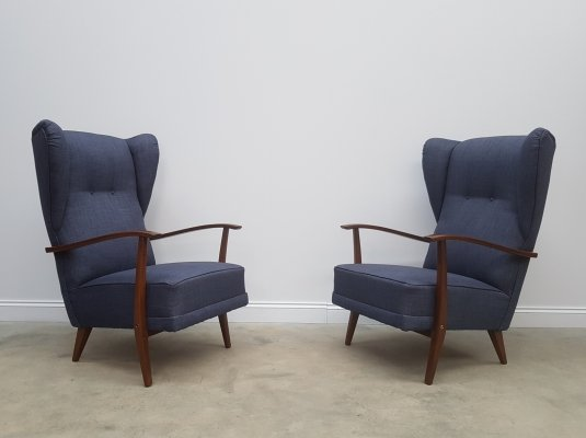 Wingback Highback Lounge Club Chairs in Navy Blue tweed, 1950s