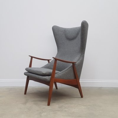 Mid Century Danish Cherry & Wool High Wing Back Lounge Armchair, 1960