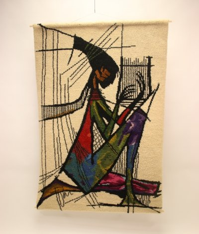 Vintage 'harp player' Wall Carpet / Tapestry, 1970