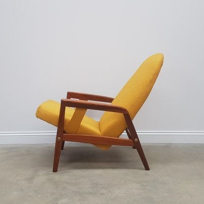 Yellow Mid Century Danish Recliner Armchair by Durup Denmark, 1960s