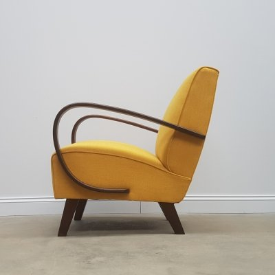 Jindrich Halabala for Thonet Bentwood Armchair in Yellow, 1930s