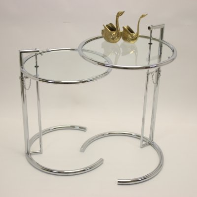 Height adjustable Eileen Gray Chrome Side tables, 1980s