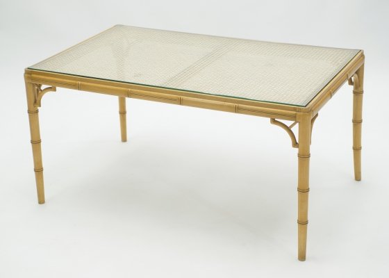 Mid-Century Modern French Riviera Cane Bamboo coffee table, 1960s