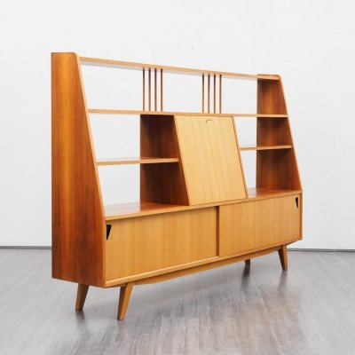 Mid-Century sideboard in ashwood & walnut with shelves & bar