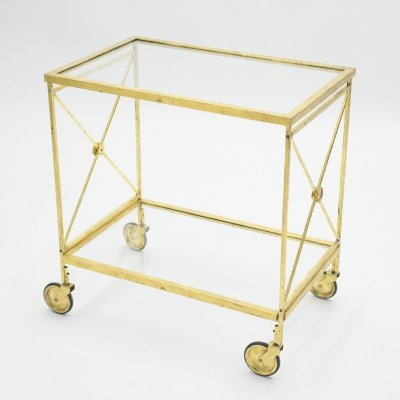 French neoclassical Maison Jansen gilded iron bar cart, 1960s