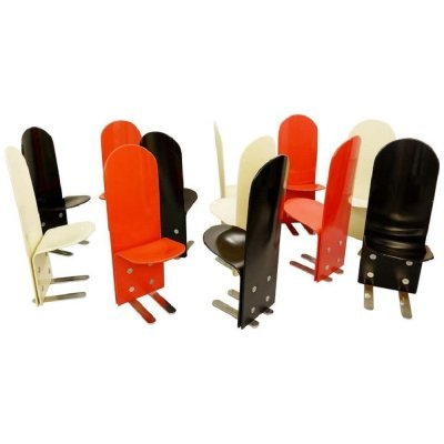 Set of 12 Italian Pellicano Chairs by Luigi Saccardo for Arrmet, 1970s