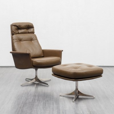 Mid-Century leather Horst Brüning for COR lounge chair with foot stool, 1960s