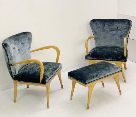 Italian set of Two Velvet Armchairs & a Bench, 1950s