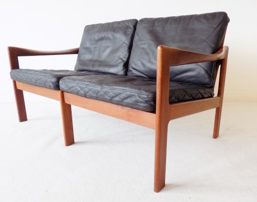 Danish Teak & black leather 2 seater by Illum Wikkelso for N. Eilersen