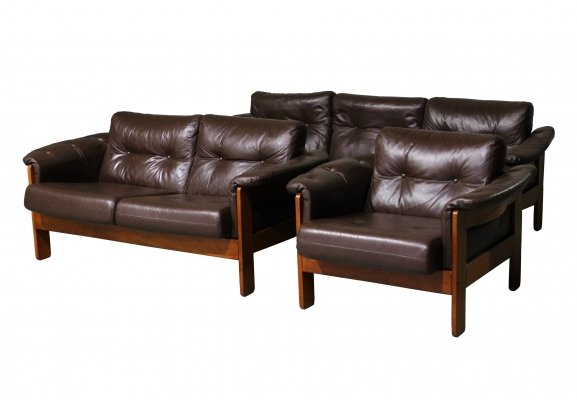 Niels Eilersen sofa set in leather & wood, 1970s