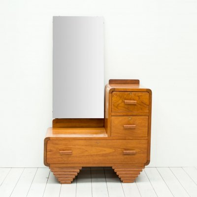1930s Art Deco Walnut Dressing Table/Hall Stand