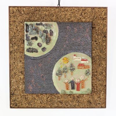 Sixties ceramic & cork wall decoration by Mariëtta Hagelen Krickl