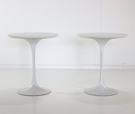 Two tulip base side tables by Maurice Burke for Arkana, 1970s
